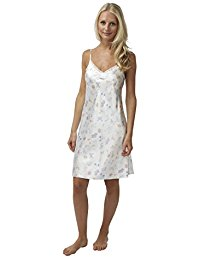 BHS Ladies Short Satin Butterfly Chemise with Lace Trim in Ivory Sizes 8 – 22