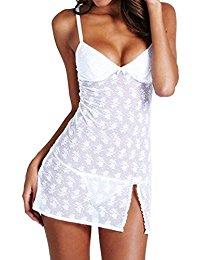 Gemini_mall® Women's Sexy Lingerie Set Babydoll Lace Splice Chemise Sleepwear Night Dress+G-string