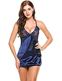 Avidlove Women Sexy Lingerie Sheer Scalloped Satin Chemise Slip Sleepwear Nightgown with G-string